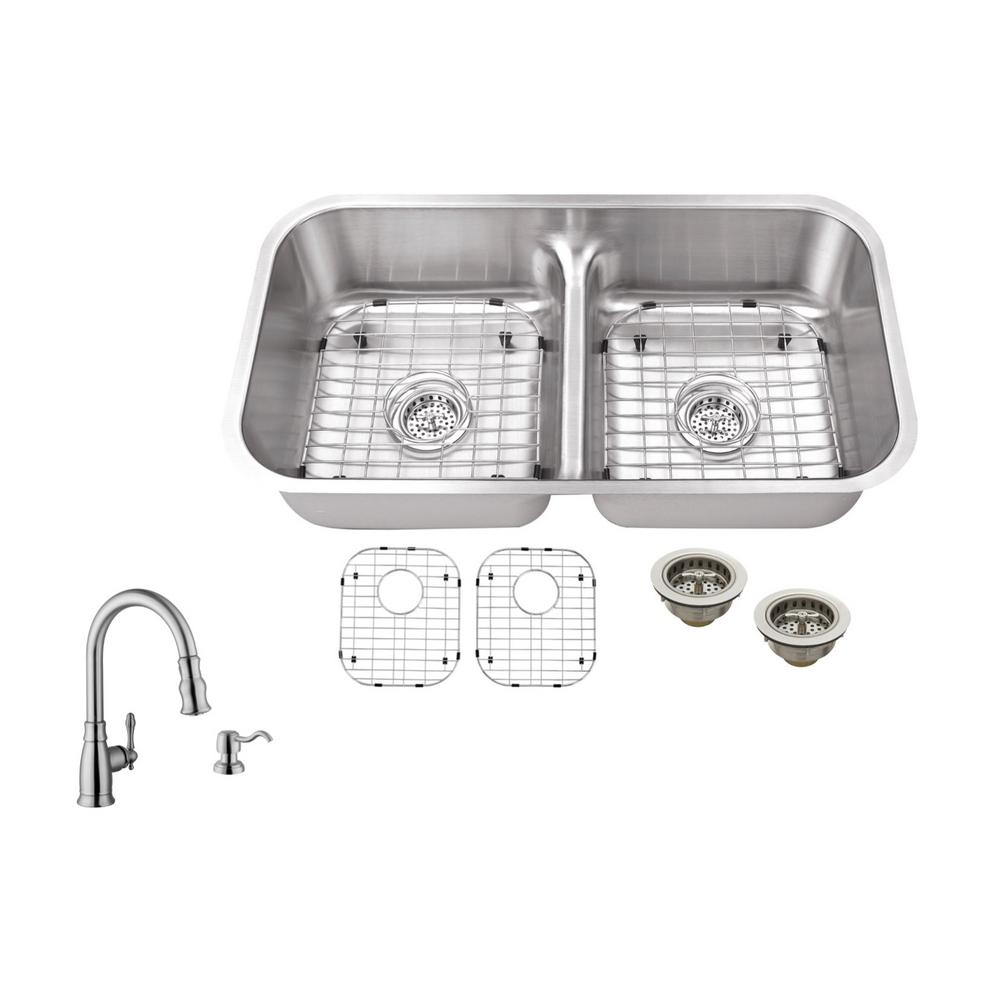 ipt sink company undermount 33 in  18 gauge stainless steel kitchen sink in brushed stainless with arc kitchen faucet ipt5050ldp5892   the home depot ipt sink company undermount 33 in  18 gauge stainless steel      rh   homedepot com