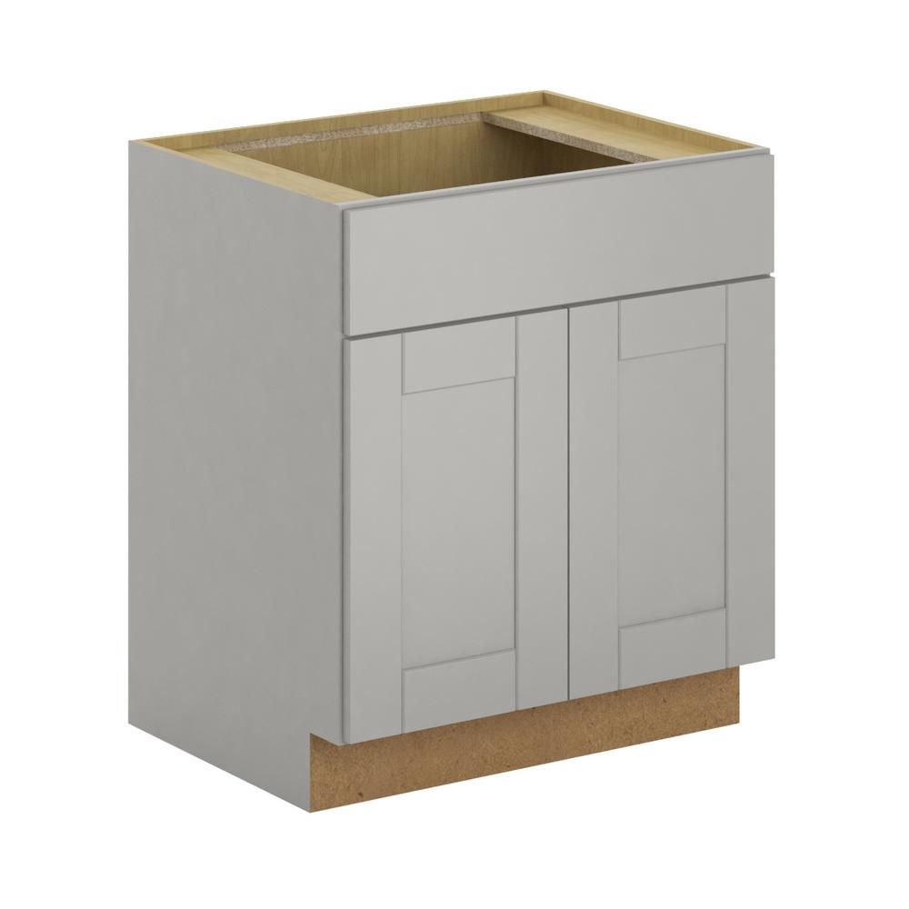 Hampton Bay Princeton Shaker Assembled Xx In Sink Base - Warm gray kitchen cabinets