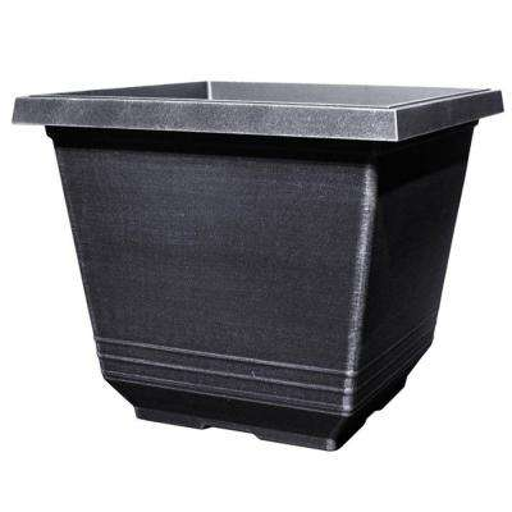 12 in. Torino Square Silver Plastic Planter P Astic Plant Pots Home Depot on