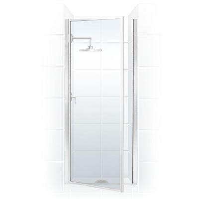 Legend Series 24 in. x 64 in. Framed Hinged Shower Door in Chrome with Clear Glass