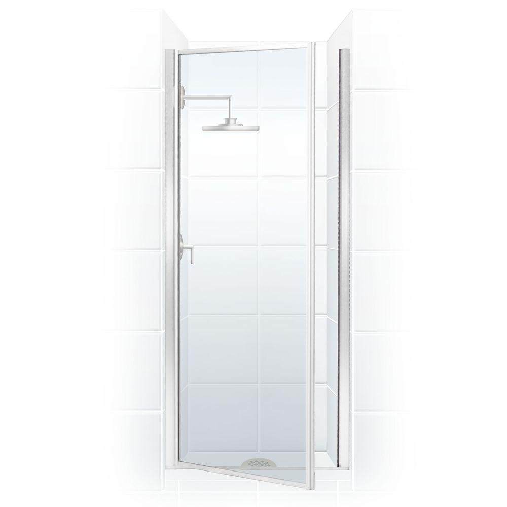 legend series 24 in x 68 in framed hinged shower door in chrome with clear glass