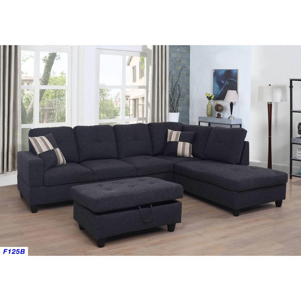 Black Microfiber Left Chaise Sectional With Storage Ottoman F125a The Home Depot