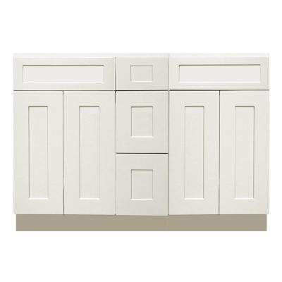 Ready to Assemble Shaker 60 in. W x 21 in. D x 34.5 in. H Vanity Cabinet with 4-Doors and 3-Drawers in White
