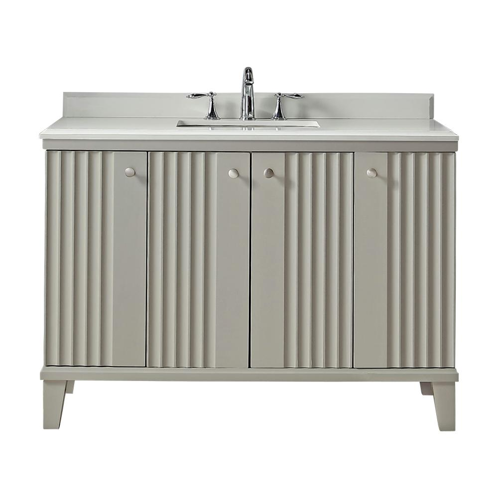Martha Stewart Living Parker 48 in. W x 22 in. D Vanity in Bedford Grey with Quartz Vanity Top in White with White Basin