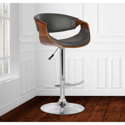 Butterfly 25-33 in. Gray Faux Leather and Chrome Finish Adjustable Swivel Barstool