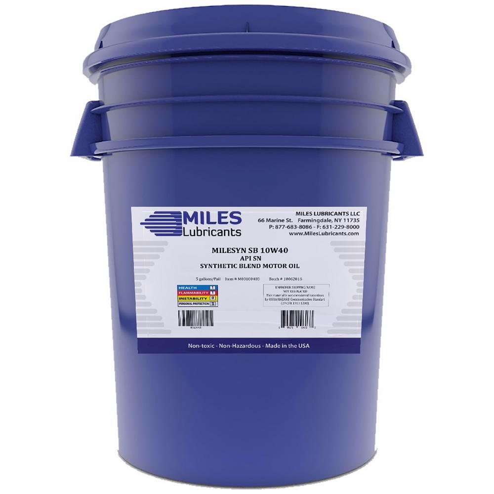 Miles Lubricants Milesyn SB 10W40 API GF-5/SN 5 Gal. Synthetic Blend Motor Oil Pail