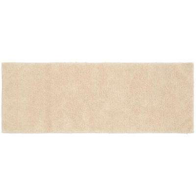 Queen Cotton Natural 22 in. x 60 in. Washable Bathroom Accent Rug