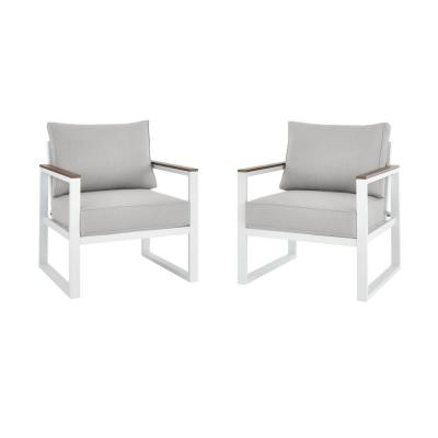 West Park White Aluminum Outdoor Patio Lounge Chair with CushionGuard Stone Gray Cushions (2-Pack)