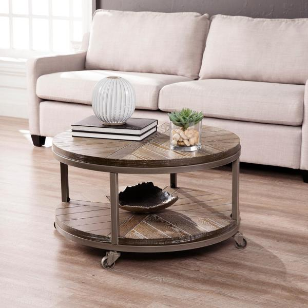 Southern Enterprises Stilson 32 In Distressed Gray White Limed Burnt Oak Medium Round Wood Coffee Table With Casters Hd598871 The Home Depot