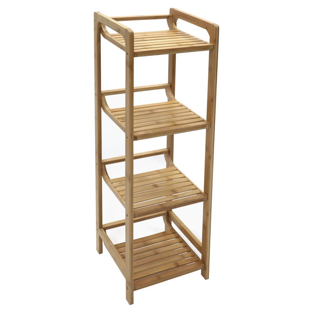 Redmon 4-Tier Bamboo Shelving Unit (12 in. W x 41 in. H x 12 in. D)