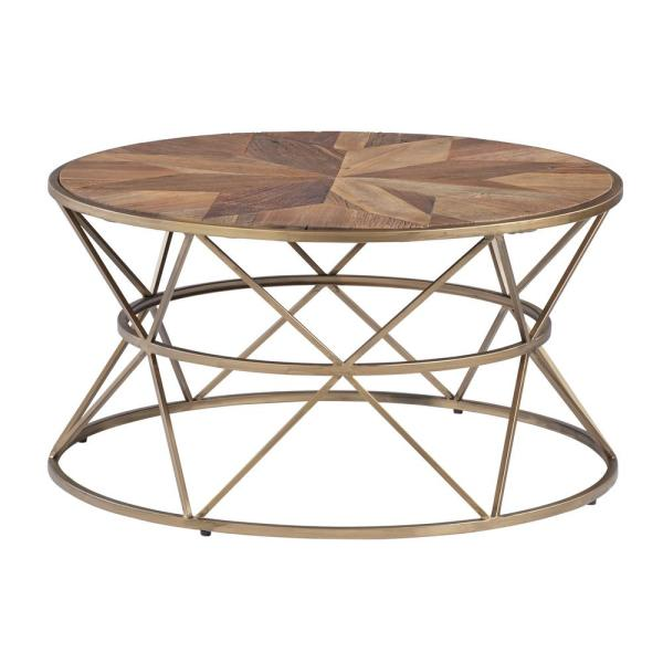 Gold Metal Round Coffee Table.Soho Sundance Gold Medal Round Cocktail Table