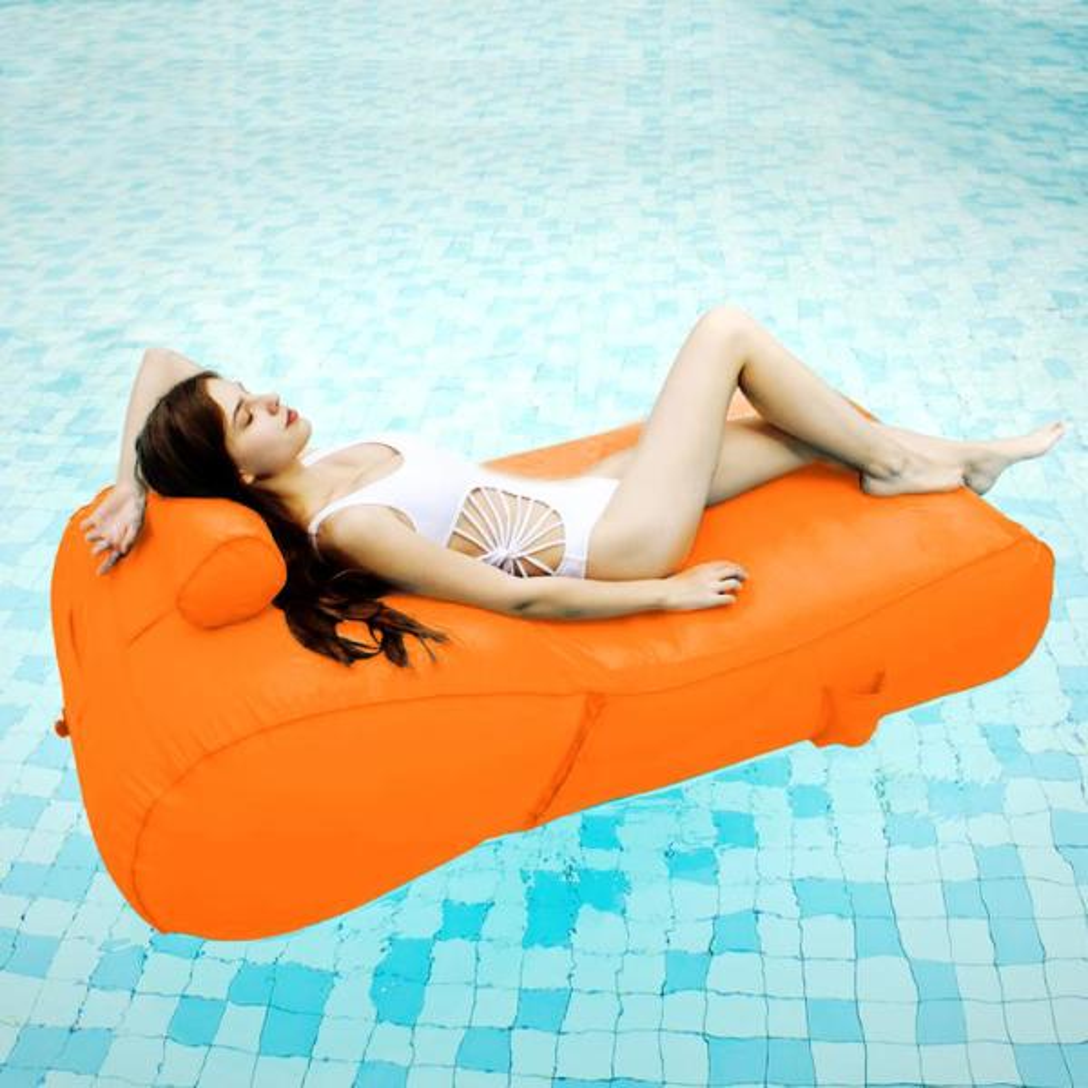 OVE Decors Aqua Orange Pool Float Sun Lounger