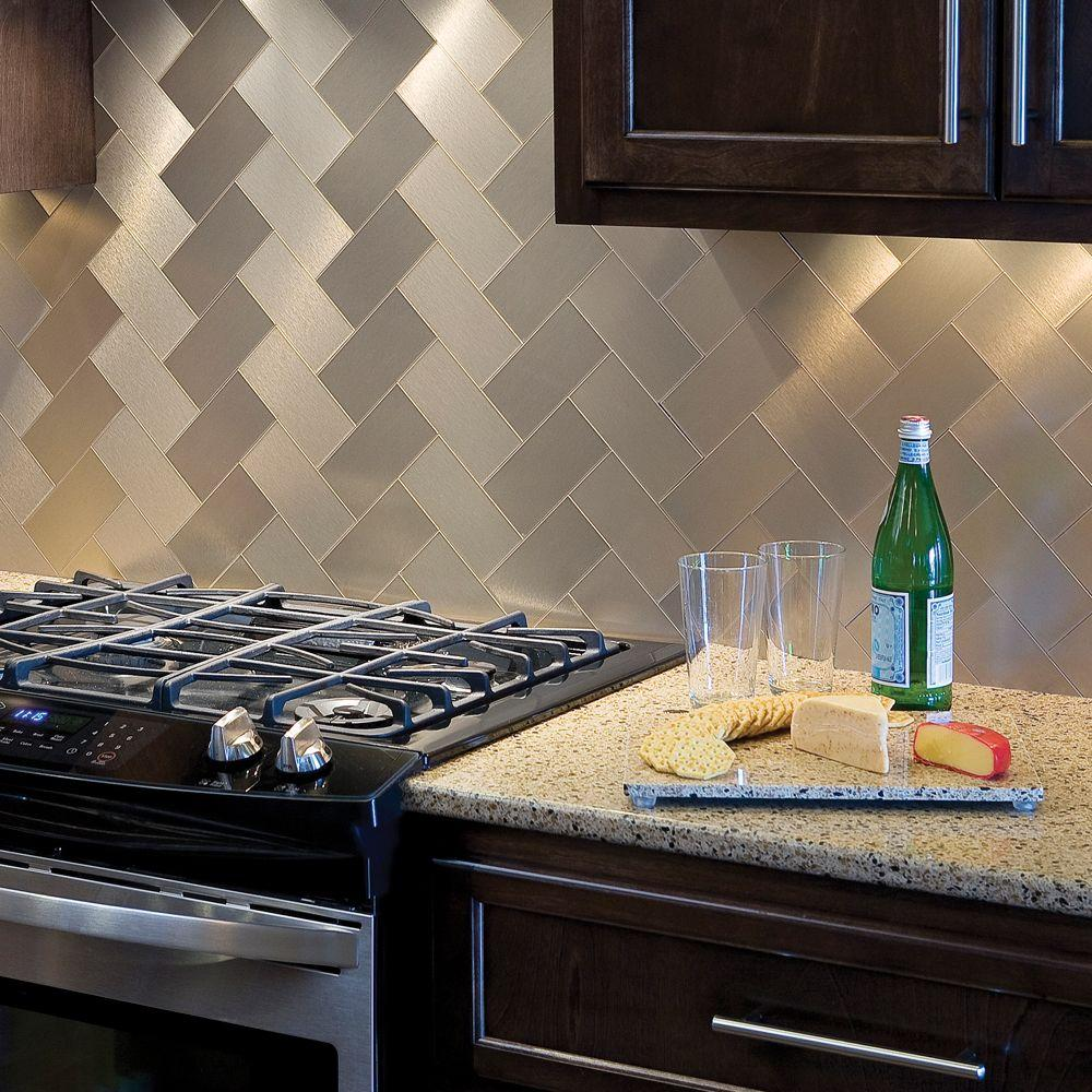 Self Stick Metal Backsplash Tiles Home Depot Metal Tile: Aspect Long Grain 6 In. X 3 In. Brushed Champagne Metal