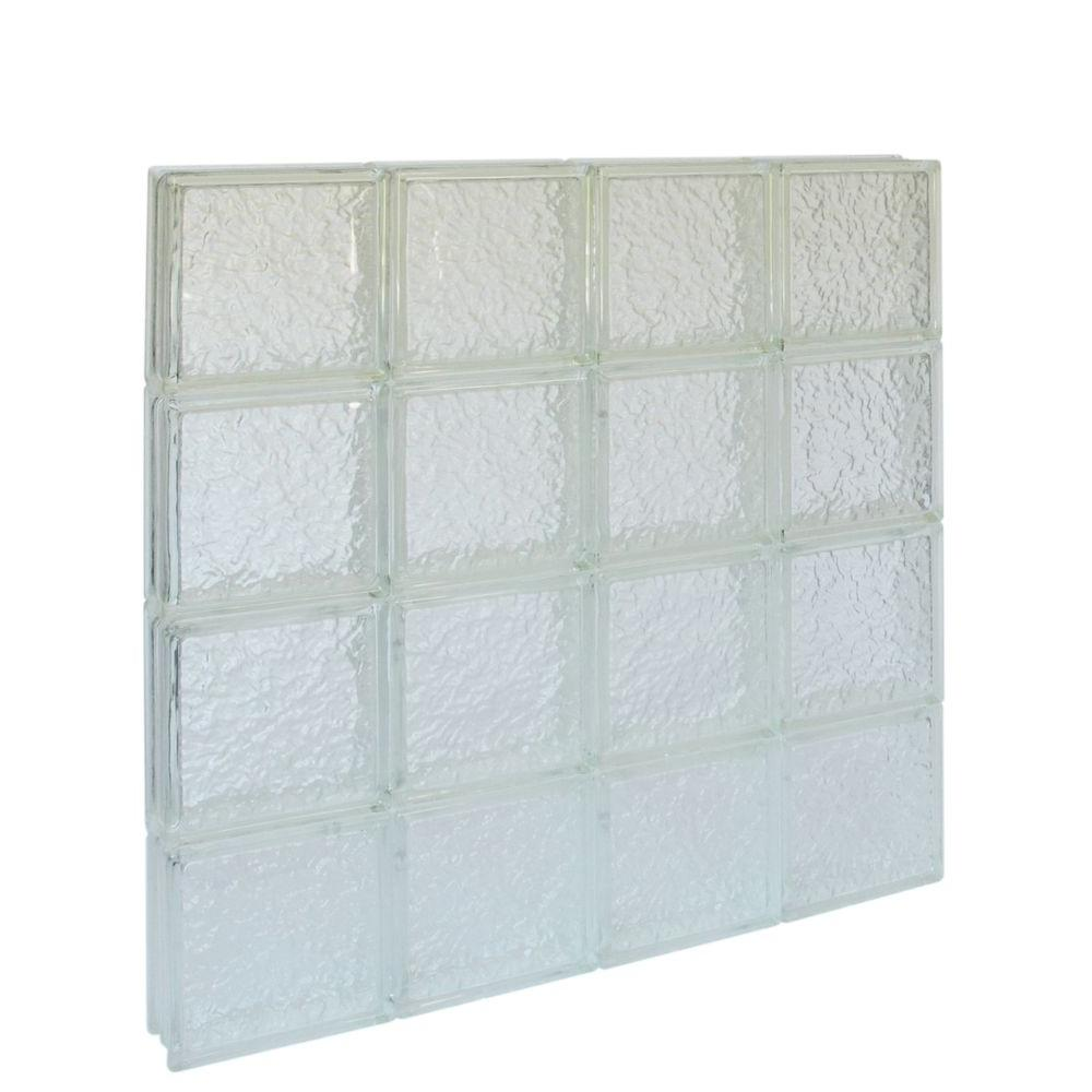 Pittsburgh Corning 31 in. x 31 in. x 3 in. IceScapes Pattern Solid Glass Block Window