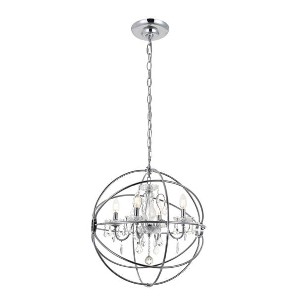 Timeless Home Cara 20 in. W x 23 in. H 4-Light Chrome Pendant