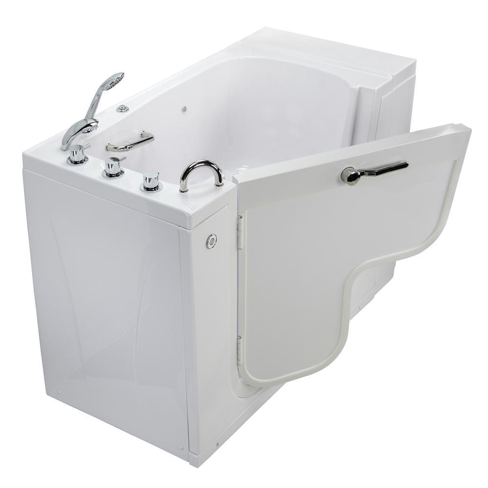 Wheelchair Transfer 52 in. Acrylic Walk-In MicroBubble Air Bath Bathtub in White with Faucet Set, LHS 2 in. Dual Drain