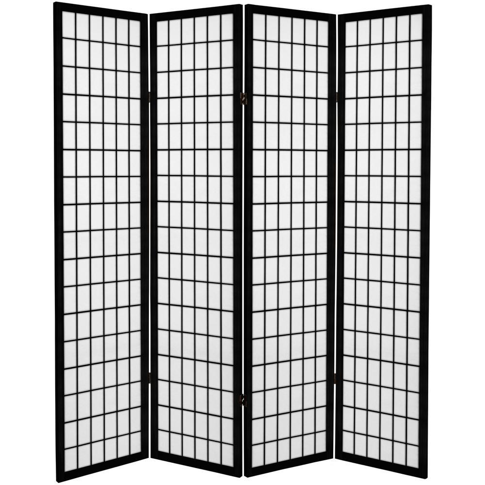 6 ft. Black Canvas Window Pane 4-Panel Room Divider