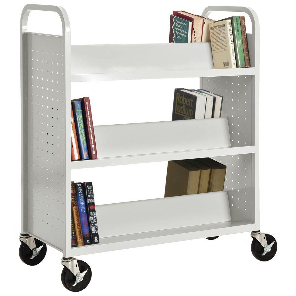 Sandusky White Mobile Steel Bookcase