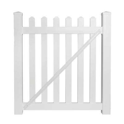 Chelsea 4 ft. W x 3 ft. H White Vinyl Picket Fence Gate Kit
