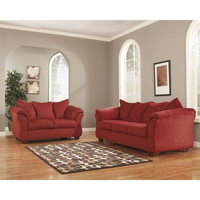 Signature Design by Ashley Darcy Living Room Set in Red Salsa Fabric