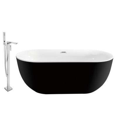 Tub, Faucet and Tray Set 59 in. Acrylic Flatbottom Non-Whirpool Bathtub in Glossy Black