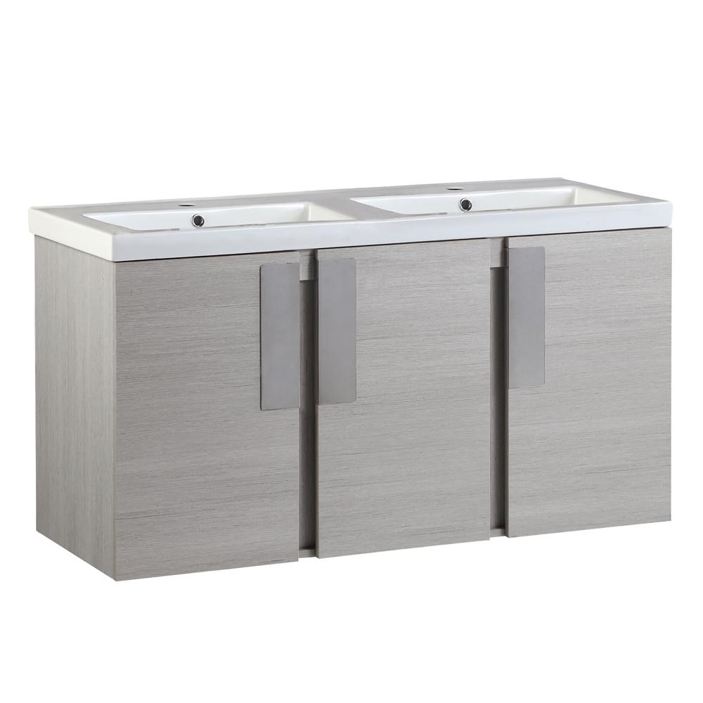 Bellaterra Home Carmel 48 in. W x 19 in. D x 26 in. H Double Vanity in Gray Pine with Ceramic Vanity Top in White with White Basins