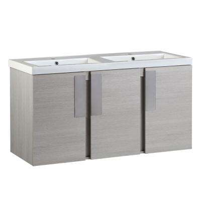 Carmel 48 in. W x 19 in. D x 26 in. H Double Vanity in Gray Pine with Ceramic Vanity Top in White with White Basins