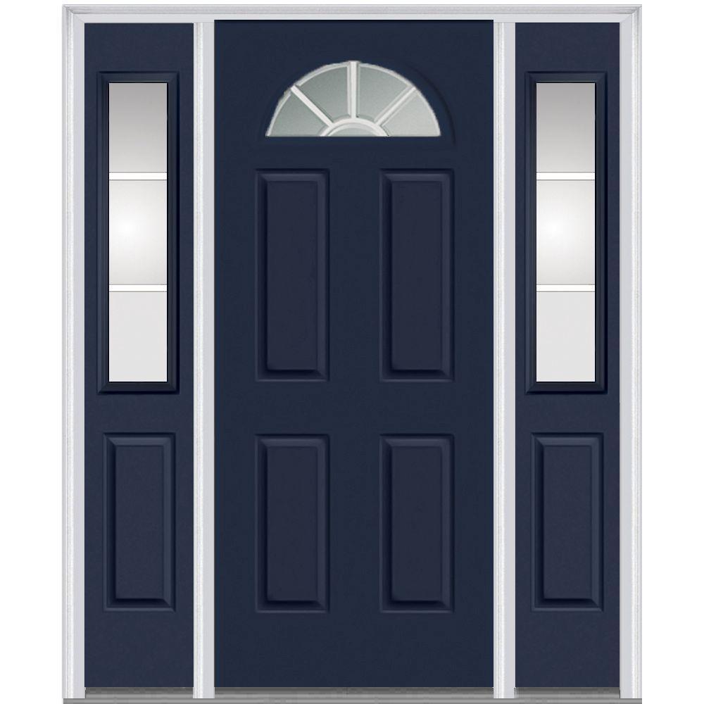 60 in.  x 80 in. GBG Left-Hand 1/4 Lite 4-Panel Classic Painted Fiberglass Smooth Prehung Front Door with Sidelites