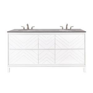 Home Decorators Collection Clemente 67 inch W Double Vanity in White with Quartz Vanity Top in Grey with White Basin by Home Decorators Collection