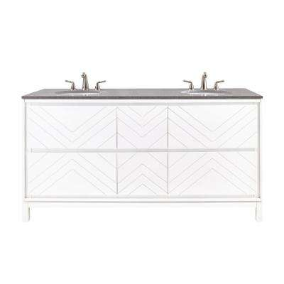 Clemente 67 in. W Double Vanity in White with Quartz Vanity Top in Grey with White Basin