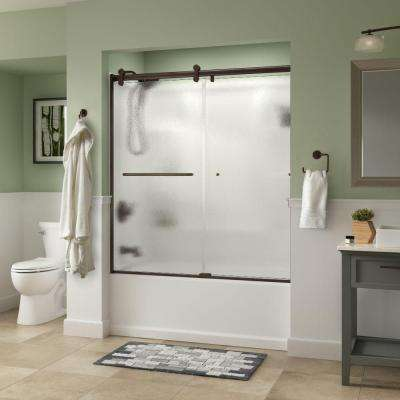Simplicity 60 in. x 58-3/4 in. Semi-Frameless Contemporary Style Sliding Tub Door in Bronze with Rain Glass