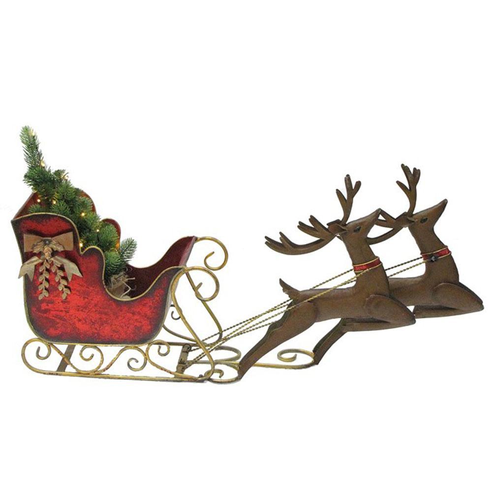Christmas Reindeer.Zaer Ltd International Small Christmas Sleigh With Reindeer