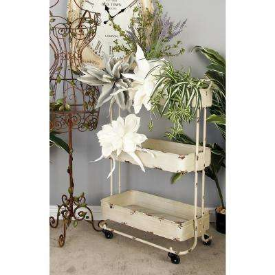 3-Tiered Metal Wheeled Cart in Cream and Rust Brown