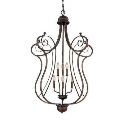 6-Light Rubbed Bronze Candle Pendant