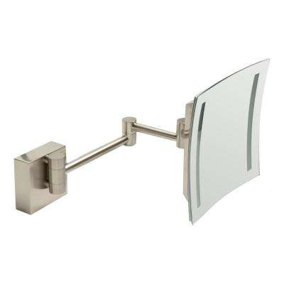8 in. x 8 in. Square Frameless Wall Mounted LED Lighted Single 5X Mirror in Brushed Nickel