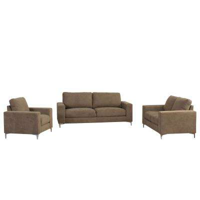 Cory 3-Piece Contemporary Brown Chenille Fabric Sofa Set