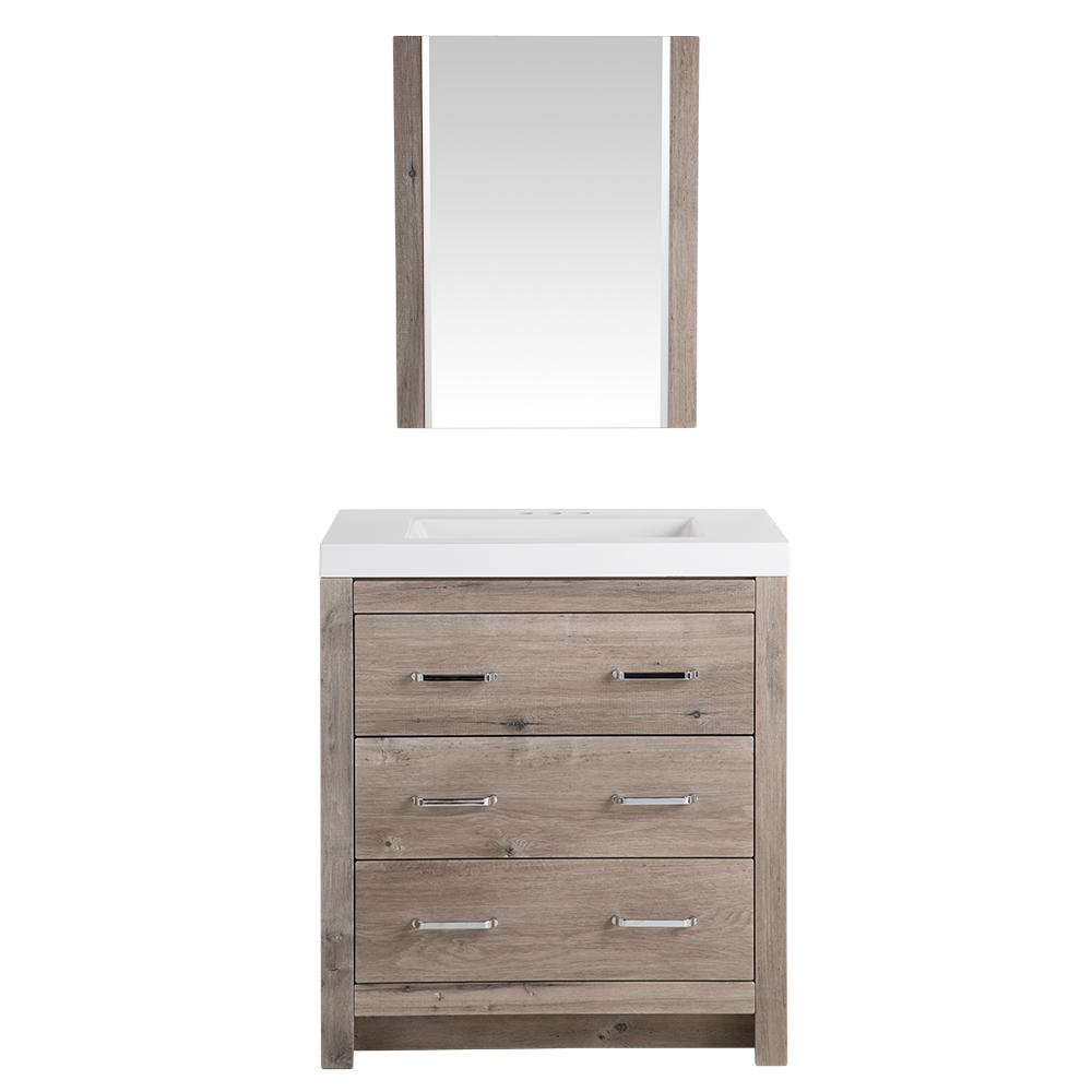 Glacier Bay Woodbrook 30-1/2 In. W Bath Vanity In White Washed Oak With  Cultured Marble Vanity Top In White With Mirror-WB30P3-WO - The Home Depot
