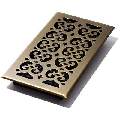 6 in. x 12 in. Scroll Antique Floor Register