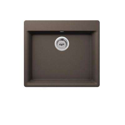 Dual Mount Quartz 23-5/8 in. Single Bowl Kitchen Sink in Mocha Brown