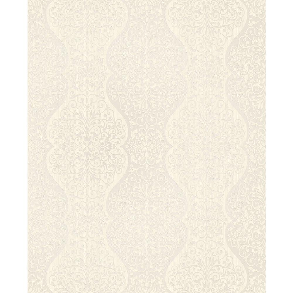 Brewster Cadence Beige Scroll Wallpaper Sample