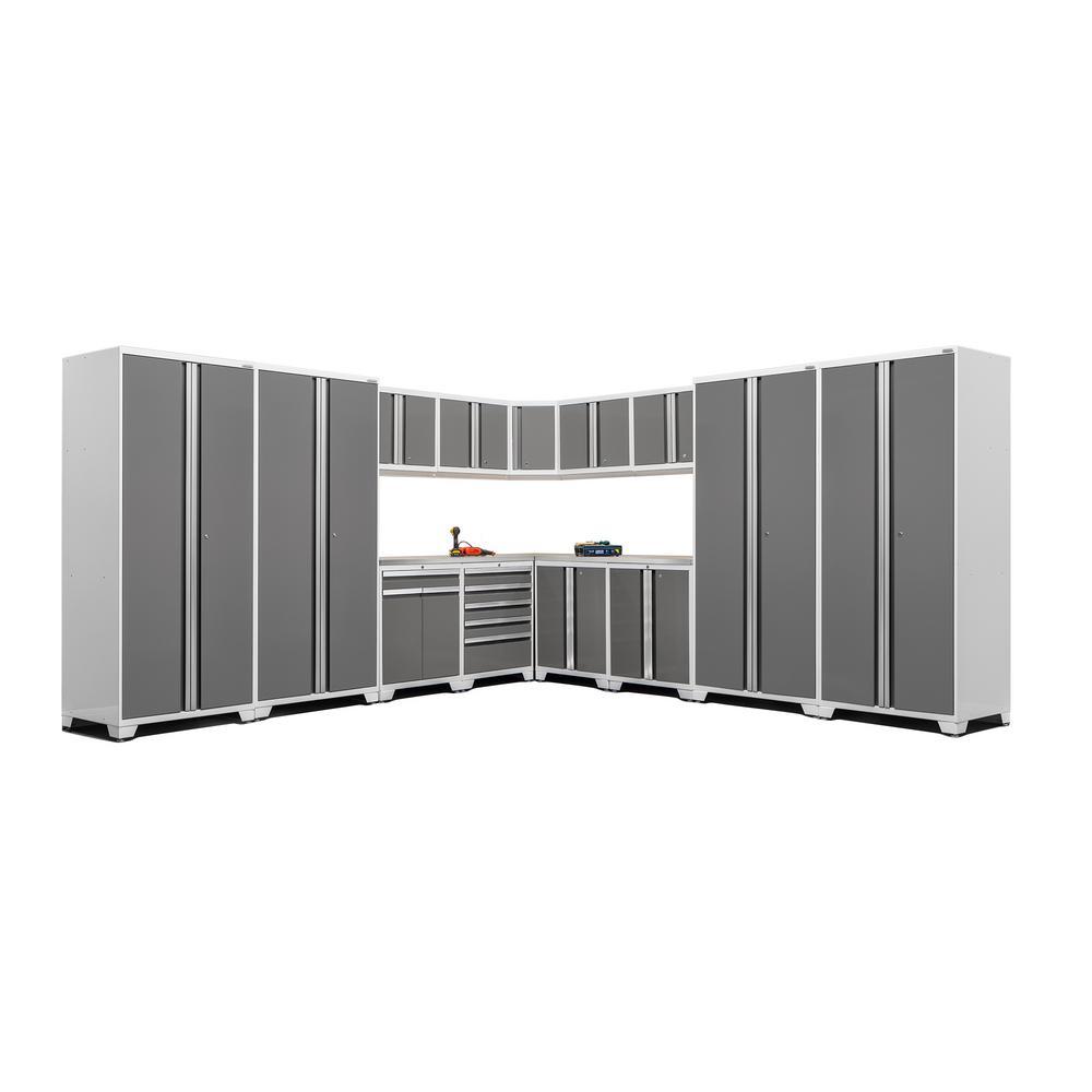 Pro 3.0 83.25 in. H x 280 in. W x 24 in. D 18-Gauge Steel Stainless Steel Worktop Cabinet Set in Platinum (16-Piece)