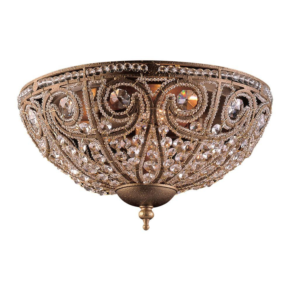 Titan Lighting Elizabethan 3-Light Dark Bronze Ceiling Flushmount