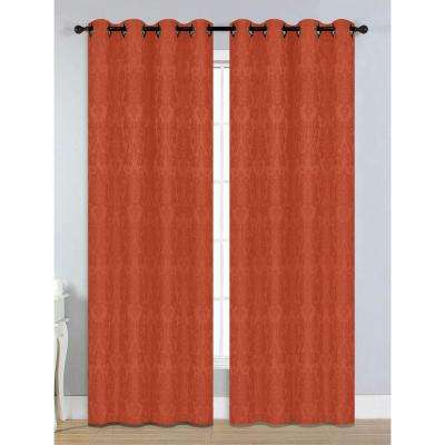 Semi-Opaque Veronica Jacquard 54 in. W x 84 in. L Grommet Extra Wide Curtain Panel in Rust