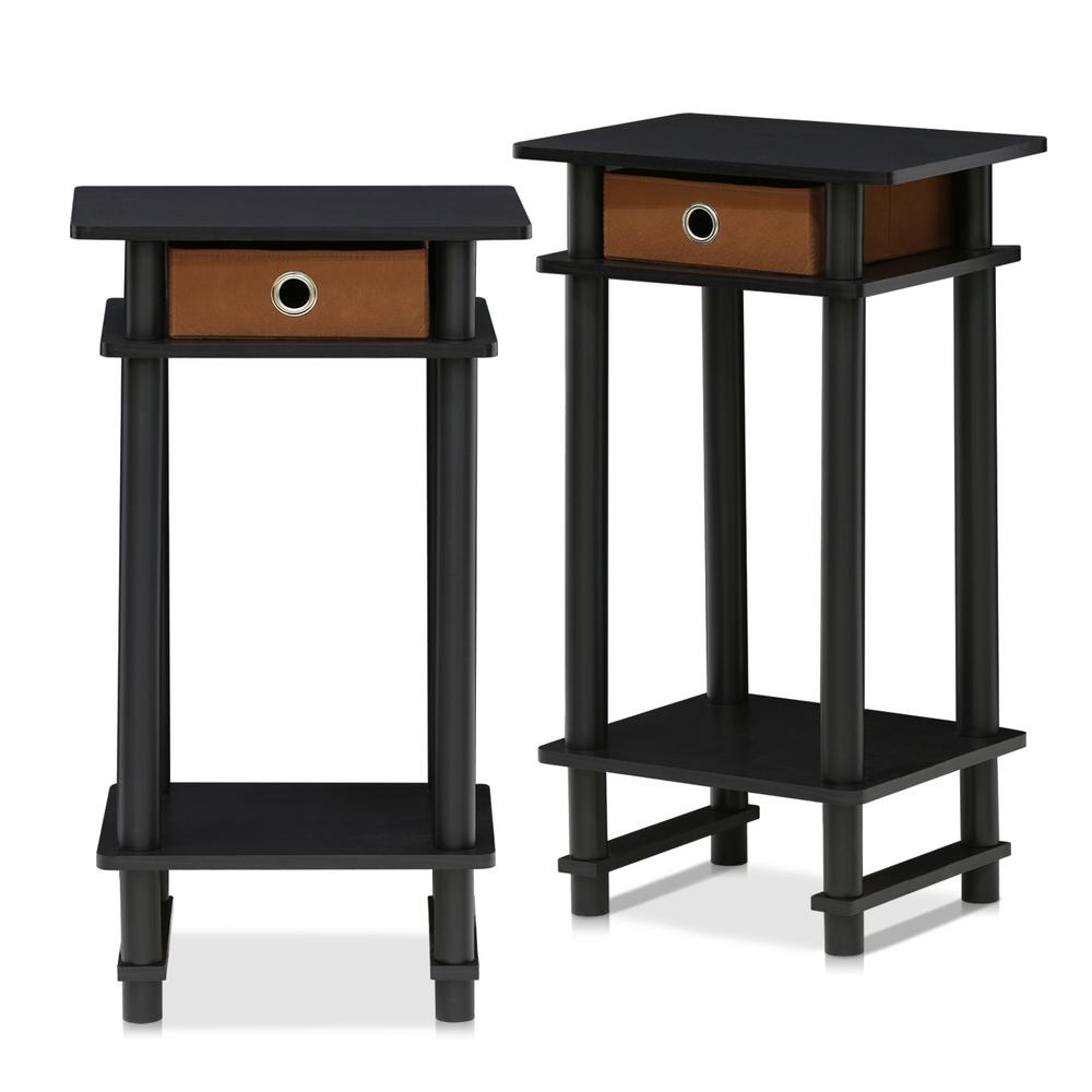 Furinno Turn N Espresso And Brown Tall End Table With Bin Set