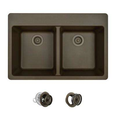 All-in-One Drop-in Granite Composite 33 in. 3-Hole Equal Double Bowl Kitchen Sink in Mocha