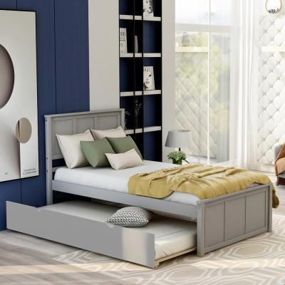Gray Twin Size Platform Bed with Twin Size Trundle