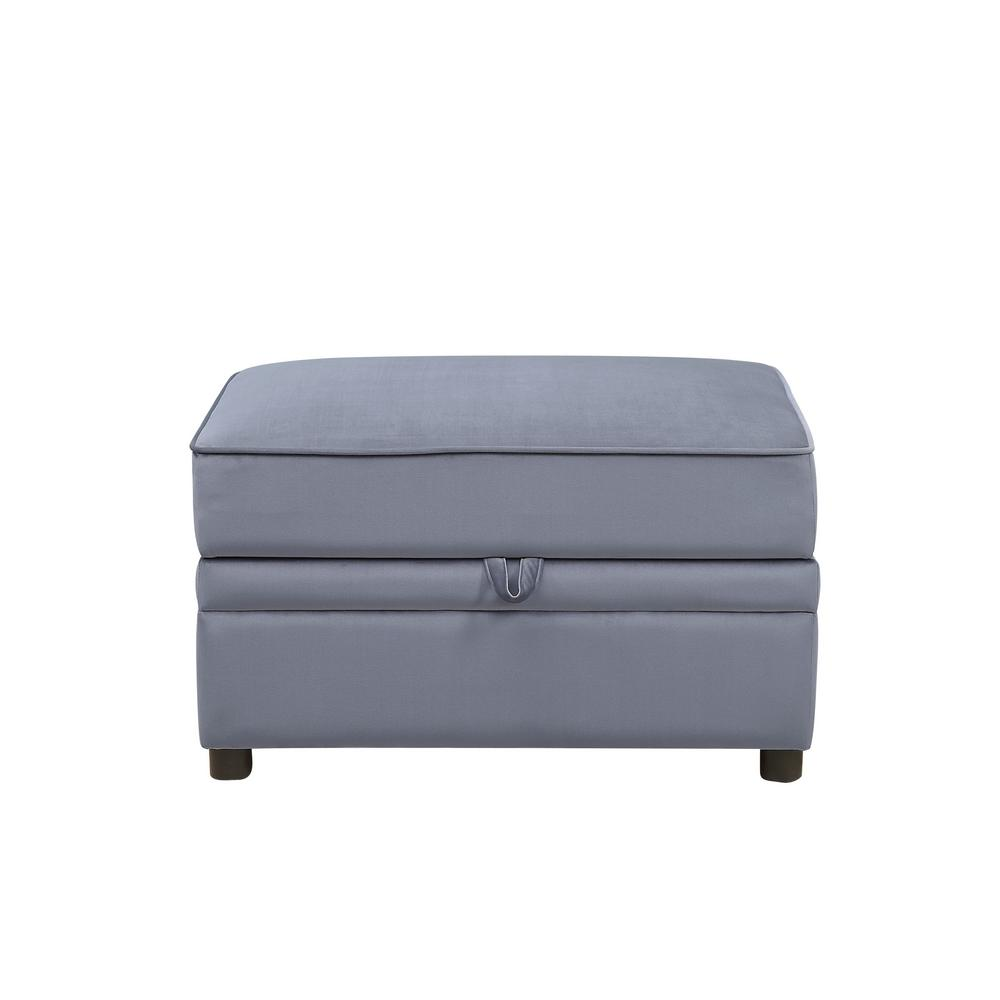 Acme Furniture Bois II Gray Velvet Storage Ottoman Section   Modular Sofa