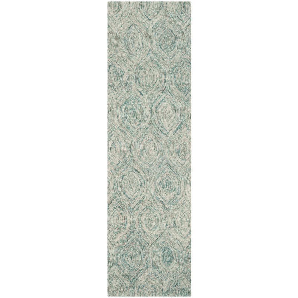 Ikat Ivory/Sea Blue 2 ft. x 12 ft. Runner Rug
