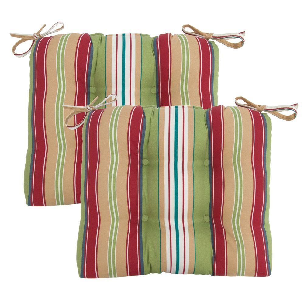 Hampton Bay Lancaster Stripe Tufted Outdoor Seat Pad (2-Pack)