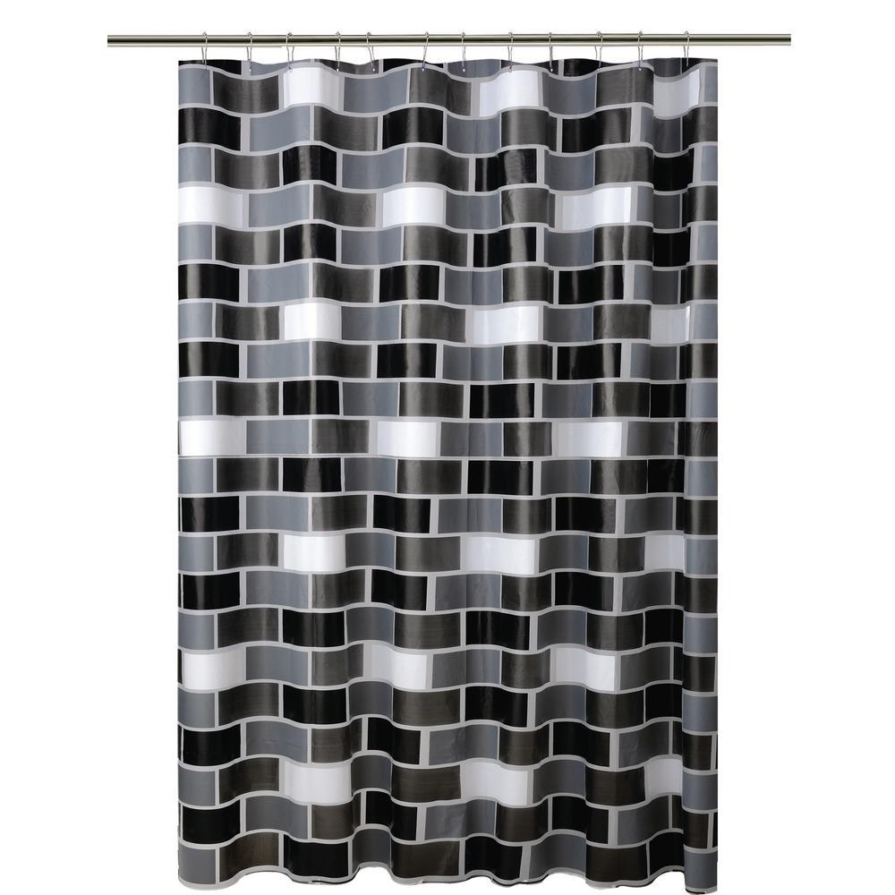 Bath Bliss PEVA 70 in. x 72 in. White, Grey, and Black Brick Design Shower Curtain
